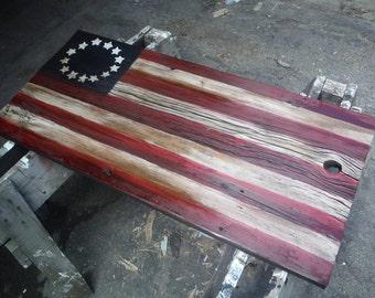 flag on antique barn wood