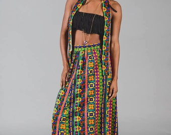 1970s high waisted multicolored skirt with detached belt/headband