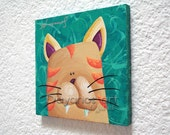 Cat Artwork, Pictures of Animals for Kids, Turquoise Art,Original Paintings for Sale,Baby Boy Gift Ideas,Girl Nursery Themes,Kids Room Ideas