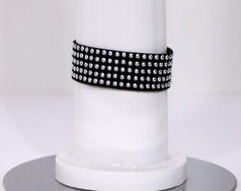 Faux Suede Black Studded Bracelet