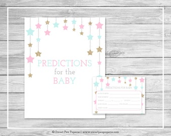 Twinkle Little Star Gender Reveal Predictions for Baby - Printable Gender Reveal Predictions for Baby - Pink Aqua Gold Gender Reveal - SP139
