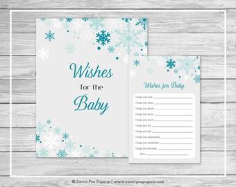 Winter Wonderland Baby Shower Wishes for Baby Cards - Printable Baby Shower Wishes for Baby Cards - Winter Wonderland Baby Shower - SP114