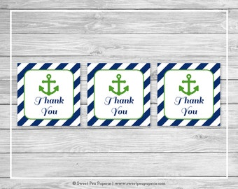 Nautical Baby Shower Favor Thank You Tags - Printable Baby Shower Thank You Tags - Navy Green Baby Shower - Thank You Favor Tags - SP120