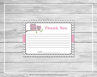 Owl Baby Shower Thank You Cards - Printable Baby Shower Thank You Cards - Pink Owl Baby Shower - Shower Thank You Cards - Owl Shower - SP134