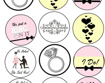 Engagement Cupcake/Cookie Toppers