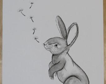 Monochrome nursery print, bunny print, scandi print, scandi rabbit print, scandi rabbit art, nursery art, nursery print, bunny art, rabbit