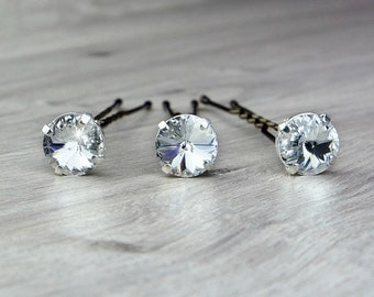 Swarovski rhinestones hairpin, wedding hair jewelry accessories, set of 3 or 5 or sold singly,bobby pin, Swarovski crystal 10 mm