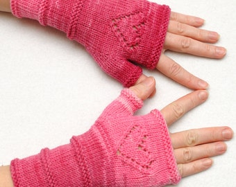SALE Winter Gloves Knit Fingerless Gloves with Hearts Fingerless mittens Arm Warmers Girlfriend Gift for Her Women gift ideas Valentines Day