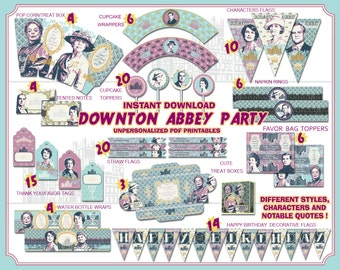Downton Abbey Party printables, victorian tea party, Downton Abbey birthday, decorations, party favors, quotes, birthday banner, tags, gift