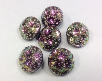 Set of 6 vintage carnival lustre buttons, 0.55 inches or 14 mm across.