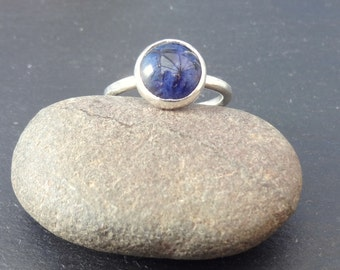 Sterling Silver blue Sodalite cabochon stacking ring, silver ring, blue gemstone ring, stacking ring, sodalite silver ring, Size N
