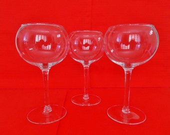 3 Red Wine / BALLOON WINE GLASSES Vintage Globe Bar Glasses