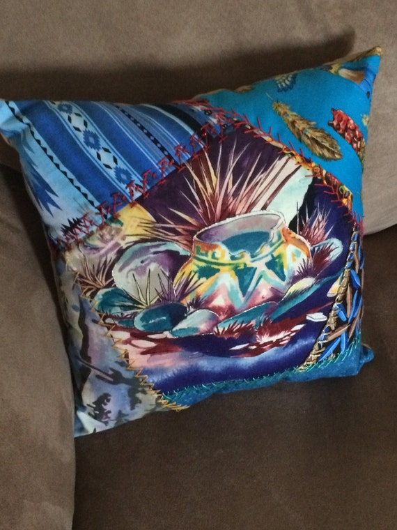 red and blue southwestern pillow set