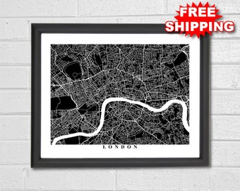 London Map Art - Map Print - City Map - Black and White Map - London Map - London - United Kingdom - UK - Black & White Collection