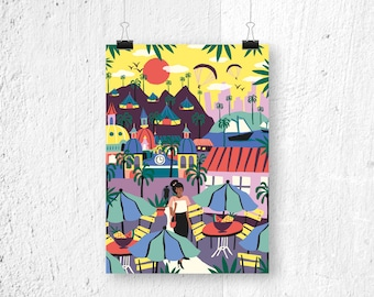 Poster City Life - A3 print A4 - poster Latin America city - illustration - illustrated poster - gift for her - poster A3 - poster A4