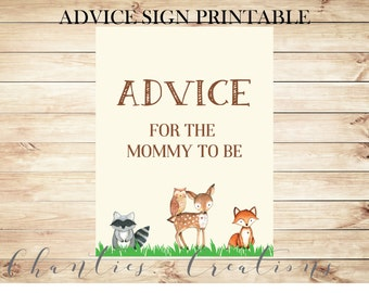Advice for Mommy to Be Cards and Sign Woodland Baby Shower Printable - Instant Download Woodland Advice for New Parents or Mommy