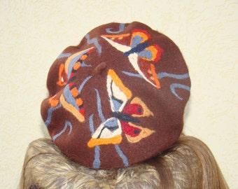 Womens wool hats Felt hats for women Dry felted beret Brown embroidered cap French beret Beret pattern Wool beret Felt beret Felting hat