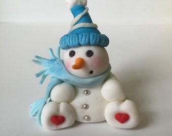 Fondant Holiday Snowman cake topper / cupcake topper