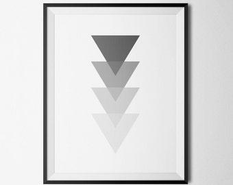 Triangle Art, Grey Triangles, Triangle Wall Print, Modern Minimalist, Monochrome Print, Grey Geometric Art, Grey Wall Art, Scandinavian Art