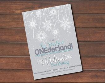 Winter ONEderland Birthday Invitation *DIGITAL FILE* (.jpg or PDF)