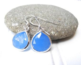 Blue Chalcedocy Sterling Silver Drop Earrings, Blue Chalcedony Earrings, Blue ChalcedonyTeardrop earrings, Teardrop Earrings