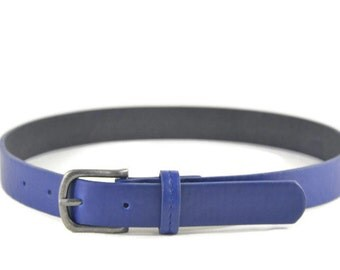 Boys Blue Leather Belt with Buckle