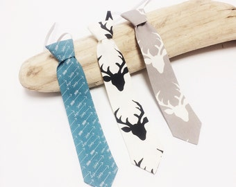 Boy's Tie - Boys Necktie - Toddler Tie - Ring Bearer Tie - Cotton Necktie - Forest Friends Tie - Boys Tie