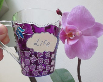 Violet Tea Cup/Coffee Cup/Gift for Her/Appreciation Gift/Valentines Gift