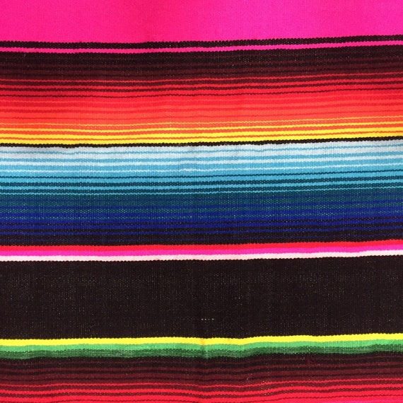 Mexican Woven Serape Blanket In Black With Multi Color Stripes