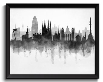 Barcelona Skyline Spain Europe Cityscape Art Print Poster Black White Grey Watercolor Painting