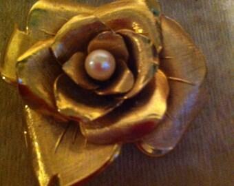 Vintage Coro Goldtone Rose Brooch with Akoya Pearl