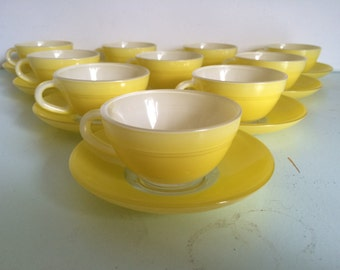 French Duralex vintage expresso cups and saucers