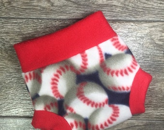 NEWBORN Fleece Diaper Cover, Fleece Diaper Soaker, Baseball RTS