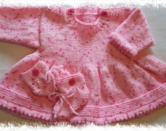 Hand knitted baby dress with bootees