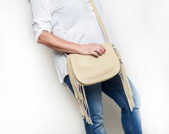 Beige Leather bag - Fringe Bag - Fringe leather bag - Fringe Handbags - Fringe Crossbody Bag - Leather shoulder bag - INGA MS7018
