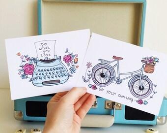 Set of 2 Vintage mini quote prints!