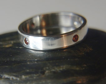 Garnet silver ring, Flush set stones - simple band ring - sterling silver band