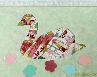 Iris Folded Swan Greeting Card