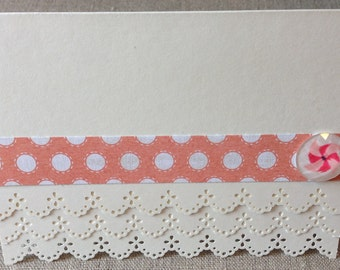 Set of 5 custom lace-edged cards, with envelopes.