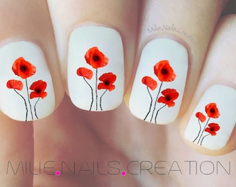 Poppy Flower Nail Decal