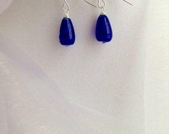 Royal Blue Ripples Czech Glass Dangle Earrings