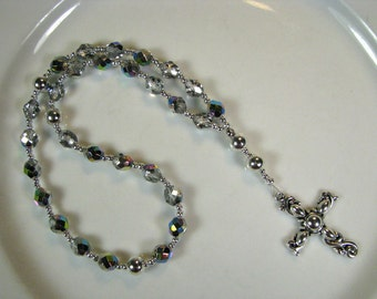 Anglican Prayer Beads-Rosary-Silver AB, Clear Crystal-with Silver Cross