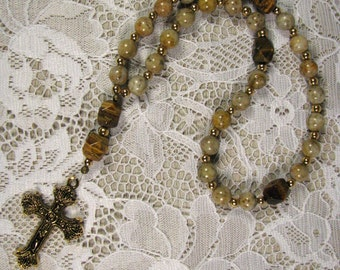 Anglican Prayer Beads-Rosary-Tigers Eye and Feldspar