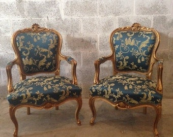 Antique French Louis XVI Small Fauteuil Chair ArmRest Gold Leaf Refinished Gild Royal Blue Damask New Fabric ArmChair Rococo Baroque