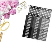 Monochromatic MDN and Heart Checklists -- Matte Planner Stickers