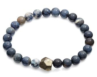 Multi Blue & Geometric Pyrite Gunmetal Stretch Bracelet