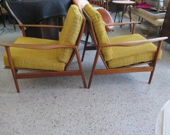 Pair of Elegant Lounge Chairs By Kofod Larsen Danish Modern !!