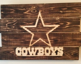 Small Dallas Cowboys football man cave wood sign 21x14