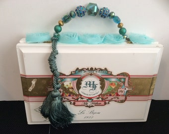 Teal and white cigar box purse