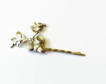 Acorn and oak leaf hair pin oak leaf bobby pin silver acorn hair pin Oak leaf hair pin branch hair pin woodland hair pin wedding hair pin